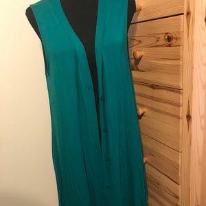 AGNES & DORA teal long vest